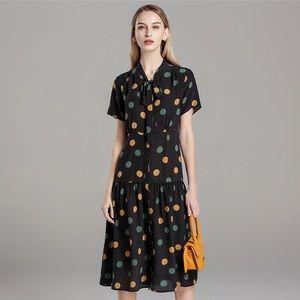 Black long straight yellow dots dress